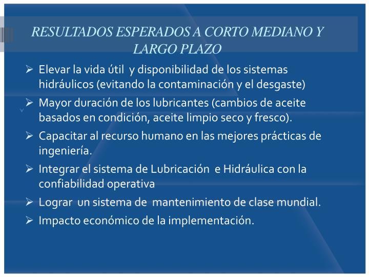 RESULTADOS ESPERADOS A CORTO MEDIANO Y LARGO PLAZO