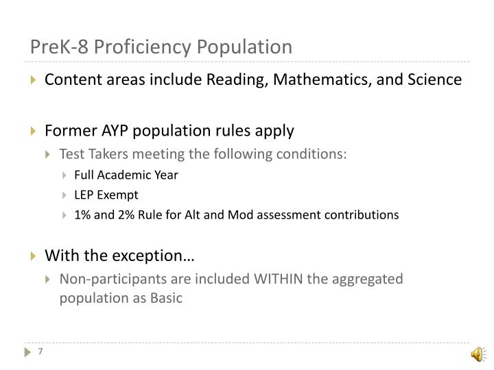 PreK-8 Proficiency Population