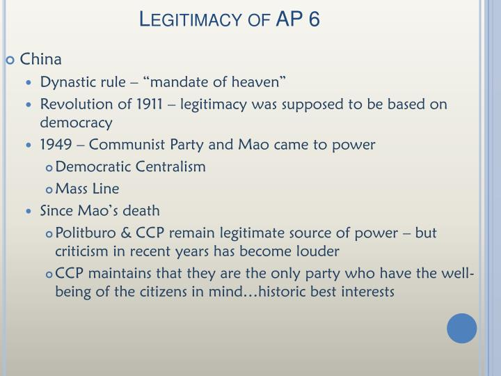 Legitimacy of AP 6