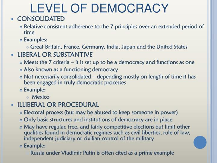 LEVEL OF DEMOCRACY