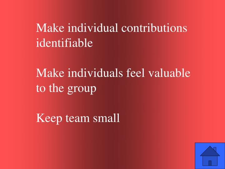 Make individual contributions identifiable