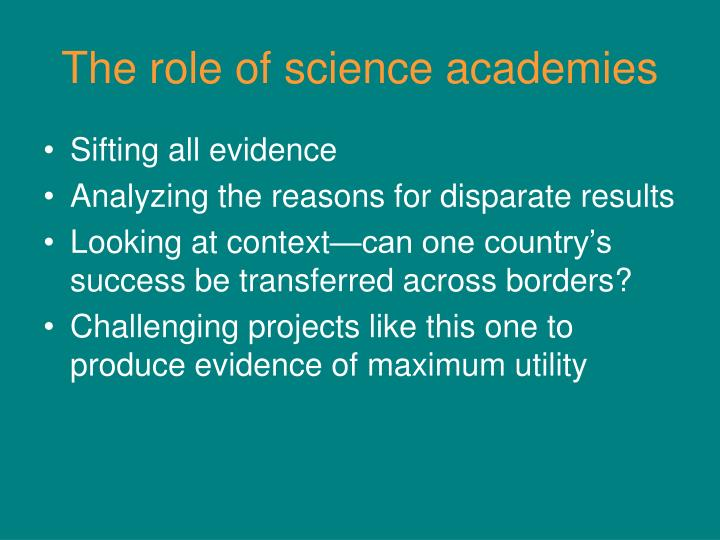The role of science academies