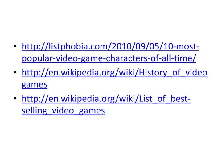 http://listphobia.com/2010/09/05/10-most-popular-video-game-characters-of-all-time