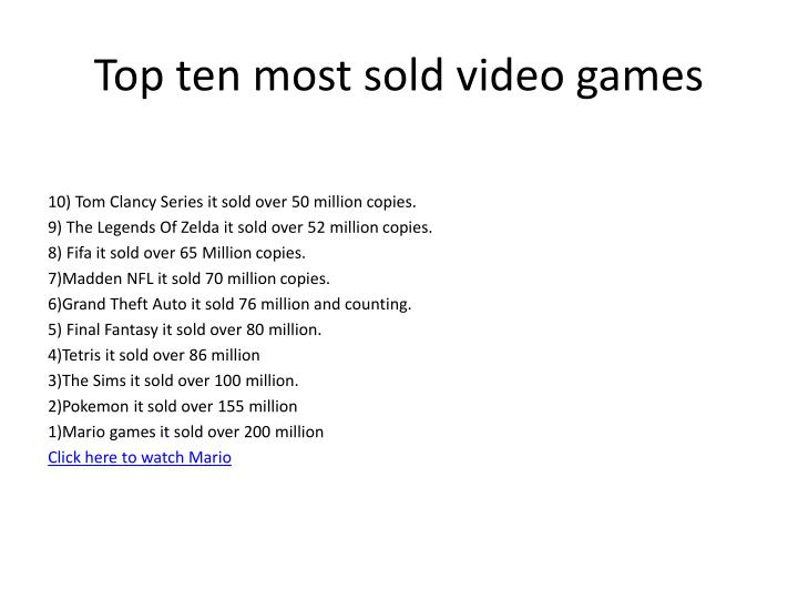 Top ten most sold video games