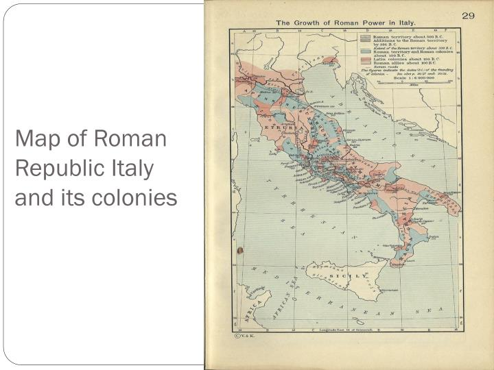 Map of roman republic italy and its colonies