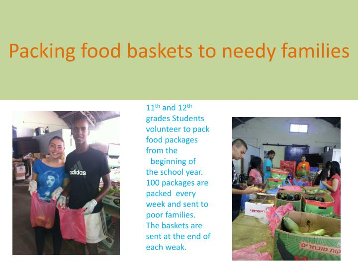 Packing food baskets to needy families