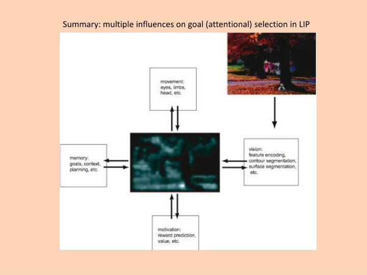 Summary: multiple influences on goal (