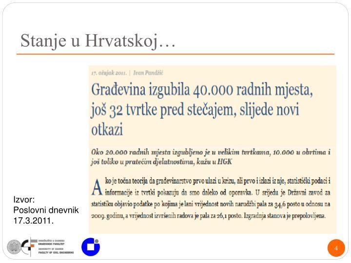 Stanje u Hrvatskoj…