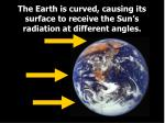 the earth is curved causing its surface to receive the sun s radiation at different angles