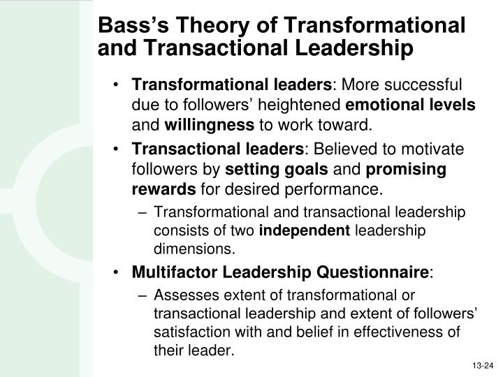 Bass's Theory of Transformational and Transactional Leadership