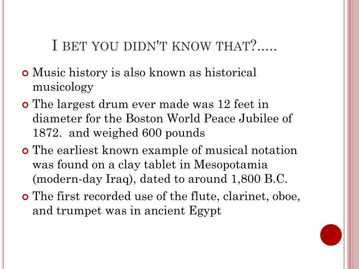 I bet you didn't know that?.....