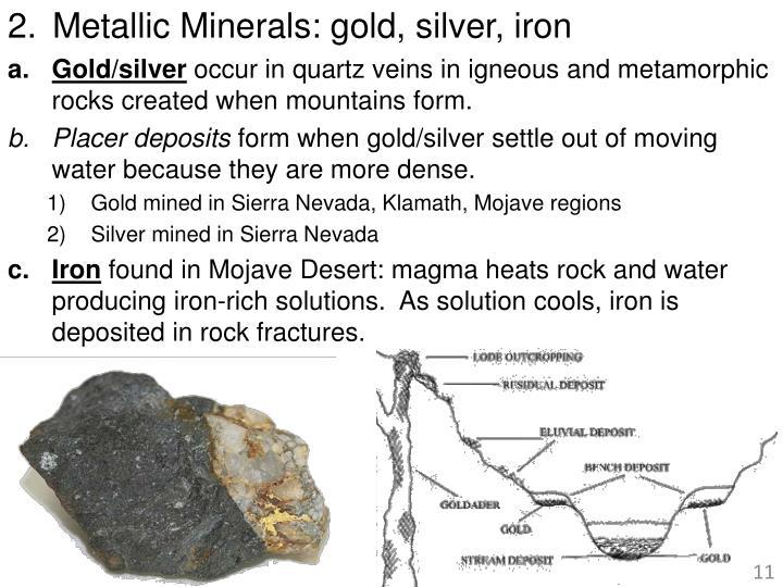 Metallic Minerals: gold, silver, iron