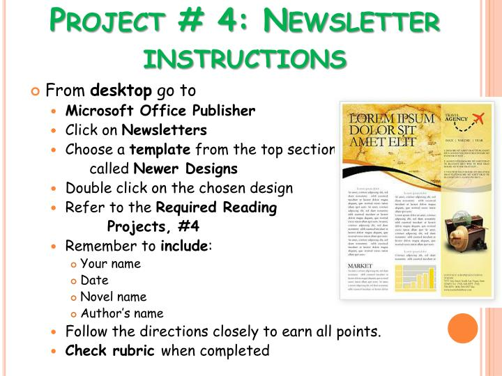 Project # 4: Newsletter instructions