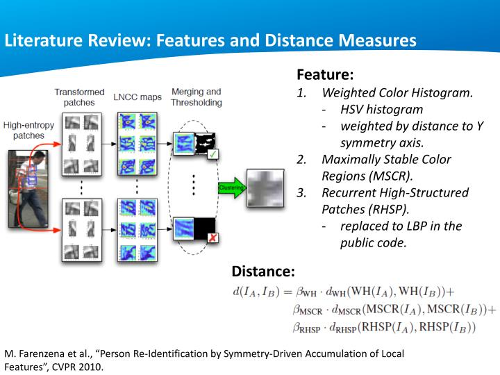 Literature Review: Features and Distance Measures