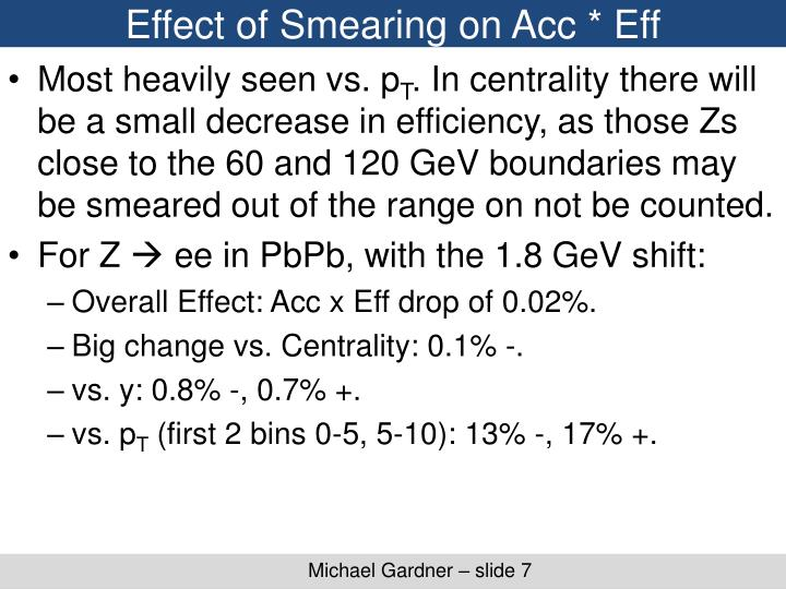 Effect of Smearing on