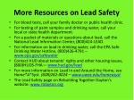 more resources on lead safety