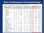 risk of subsequent psychopathology