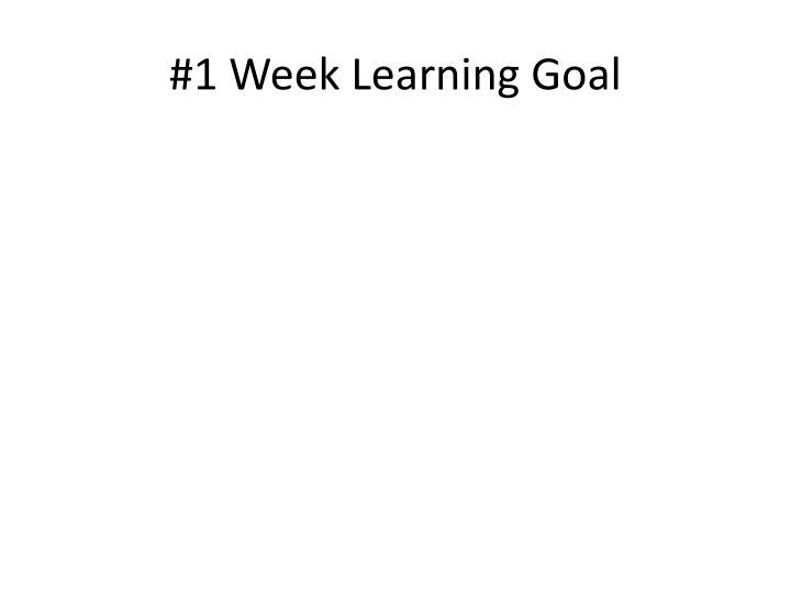 #1 Week Learning Goal
