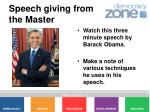 speech giving from the master