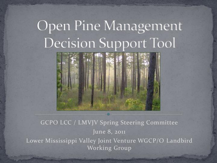 open pine management decision support tool n.