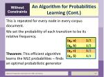 an algorithm for probabilities learning cont