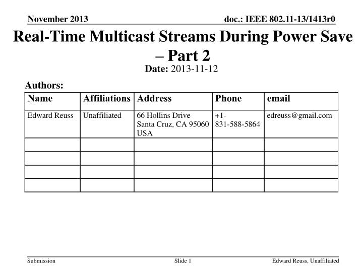 real time multicast streams during power save part 2 n.