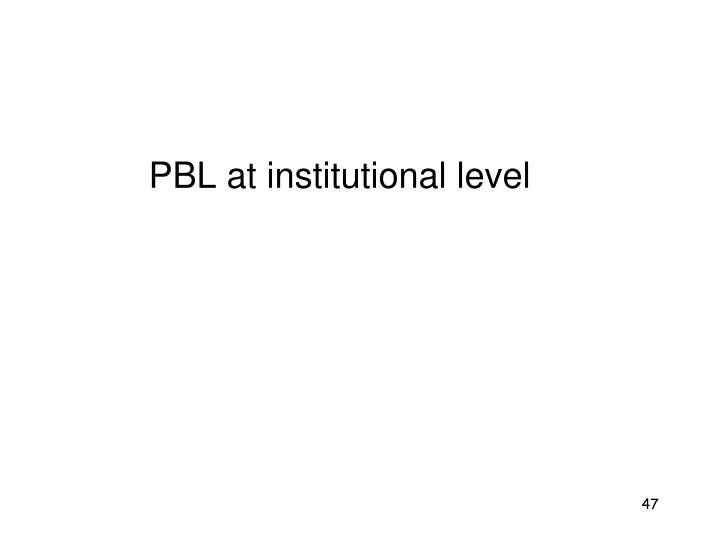 PBL at institutional level