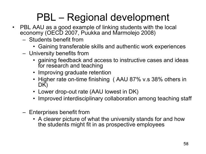 PBL – Regional development