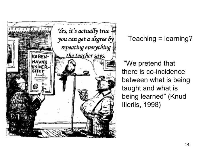 Teaching = learning?