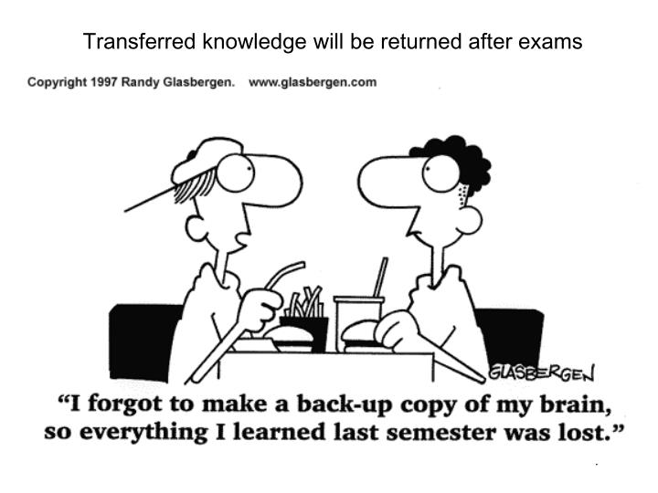 Transferred knowledge will be returned after exams