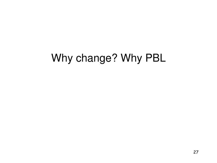 Why change? Why PBL