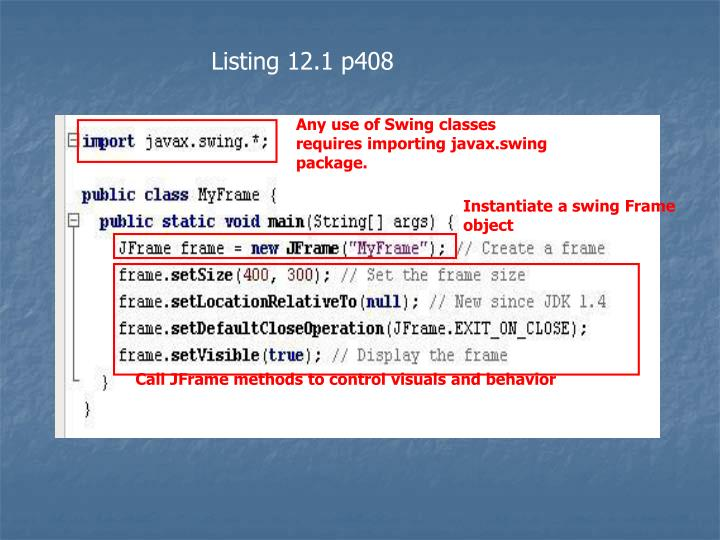 Any use of Swing classes requires importing javax.swing package.