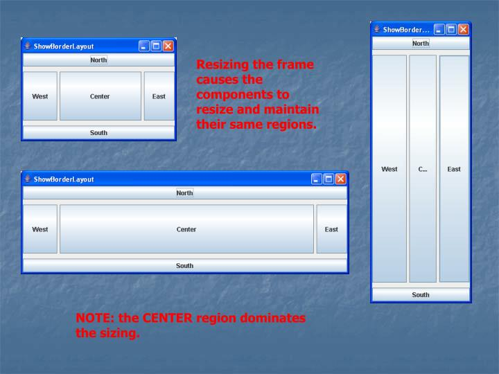 Resizing the frame causes the components to resize and maintain their same regions.
