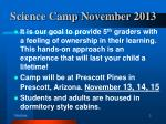 science camp november 2013
