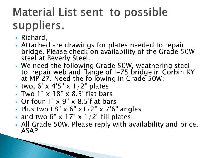 Material List sent  to possible suppliers.