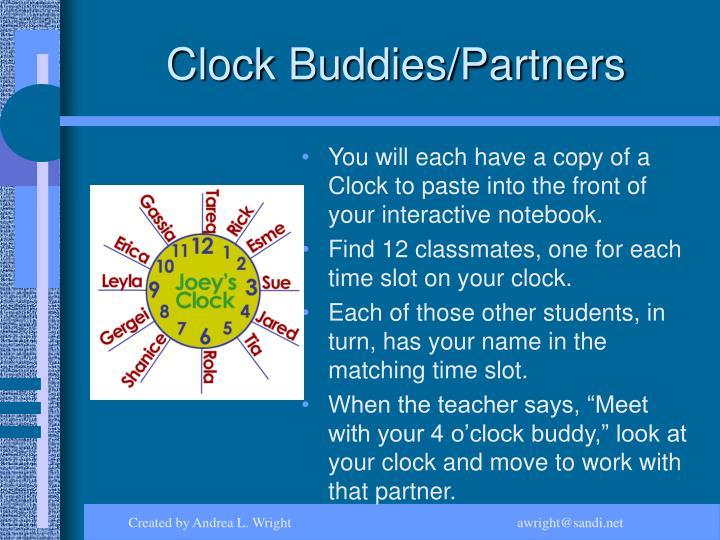 Clock Buddies/Partners
