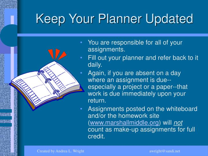 Keep Your Planner Updated
