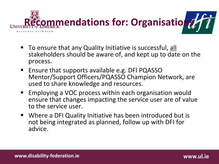 Recommendations for: Organisations