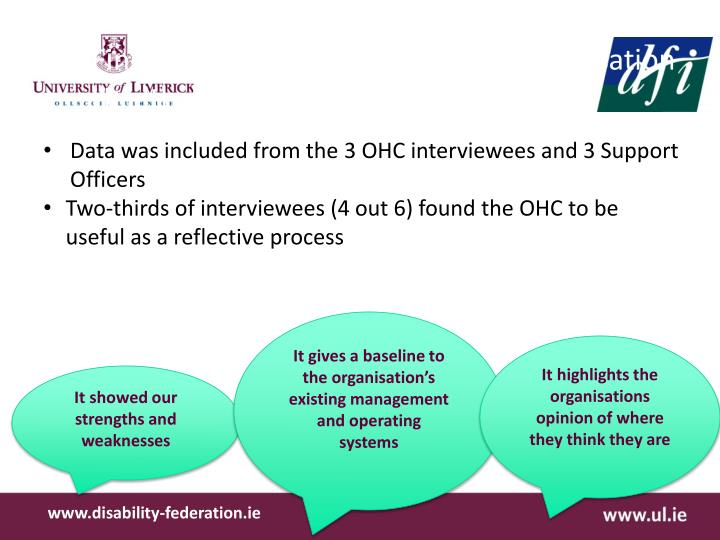 Findings from Interviews on the Organisation Healthcheck (OHC) process