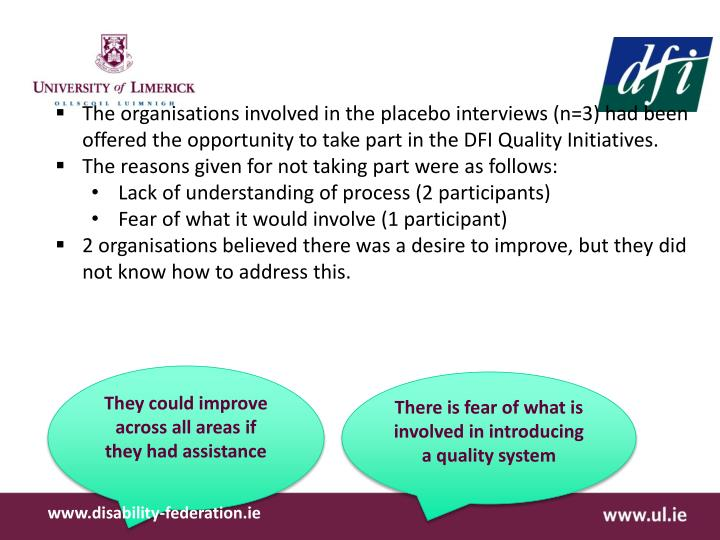 Findings from Placebo Interviews