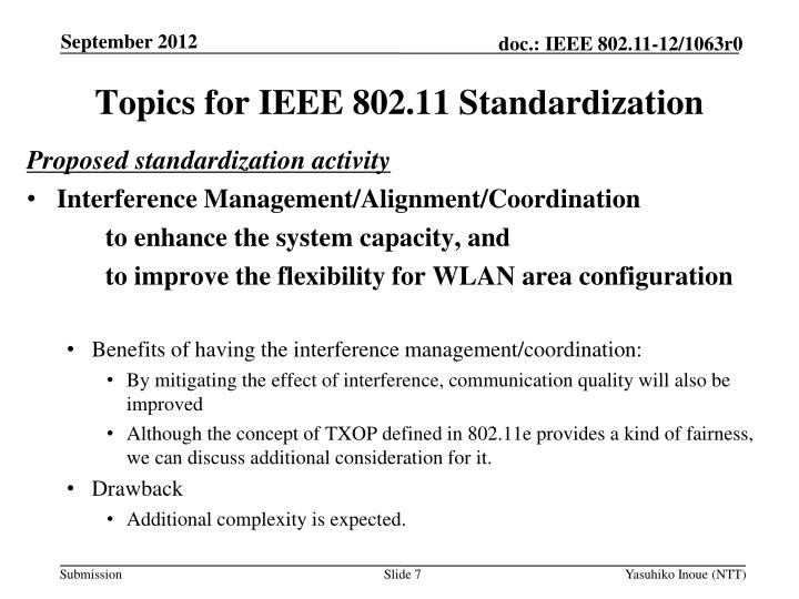 Topics for IEEE 802.11 Standardization
