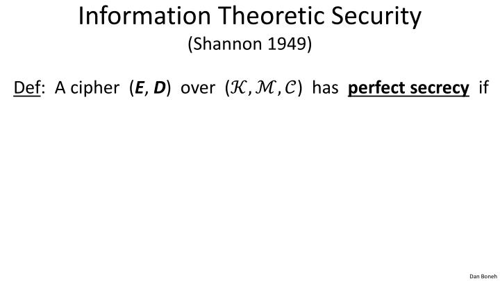 Information Theoretic Security