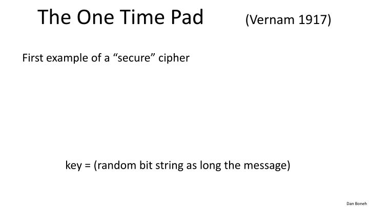 The one time pad vernam 1917