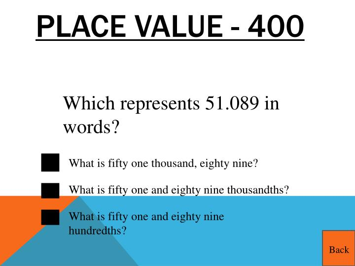 Place Value - 400