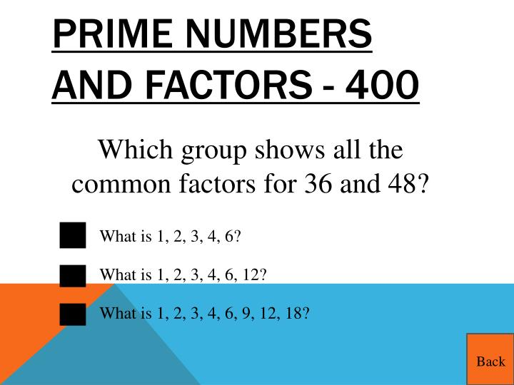 Prime Numbers and Factors - 400