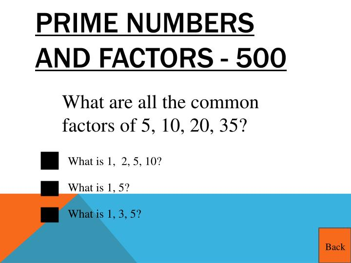 Prime Numbers and Factors - 500