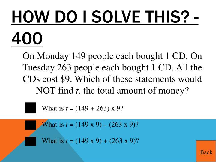 How do I solve this? - 400