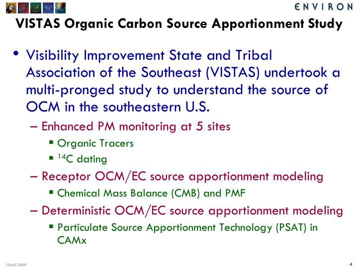VISTAS Organic Carbon Source Apportionment Study