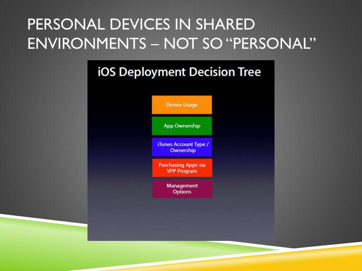 Personal devices in shared environments not so personal