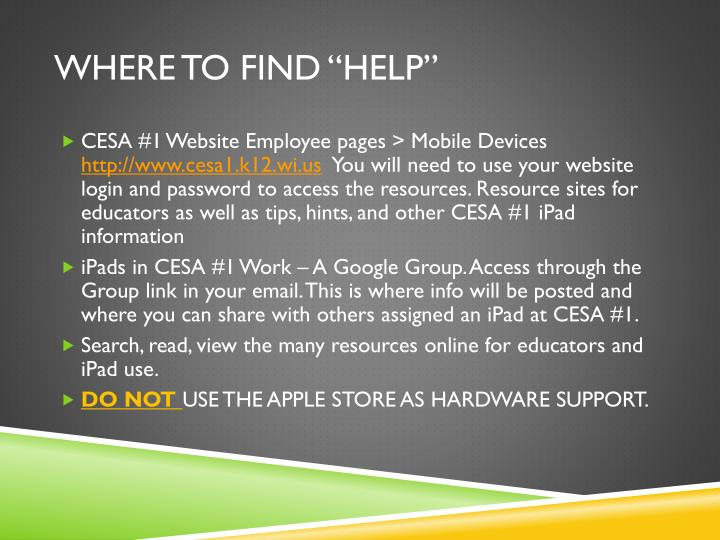 """Where to find """"Help"""""""